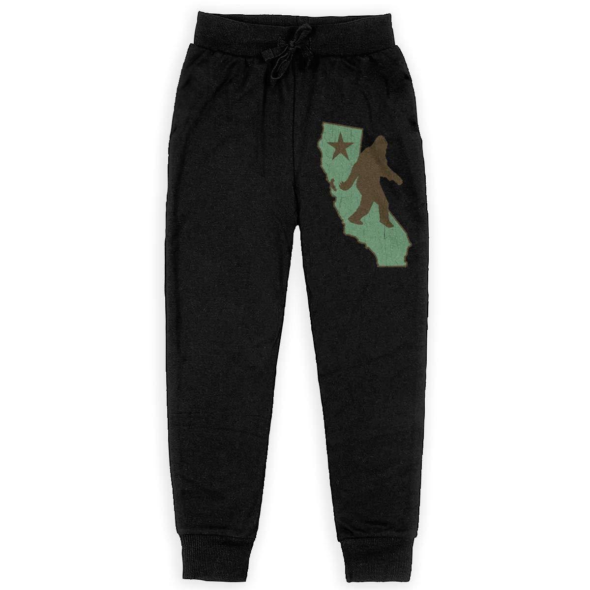 Dunpaiaa California Bigfoot Boys Sweatpants,Joggers Sport Training Pants Trousers Black
