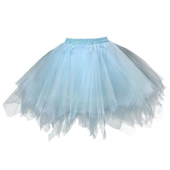 FEOYA Adultos Mujer Mini Falda de Tul Tutú Princesas para Ballet ...