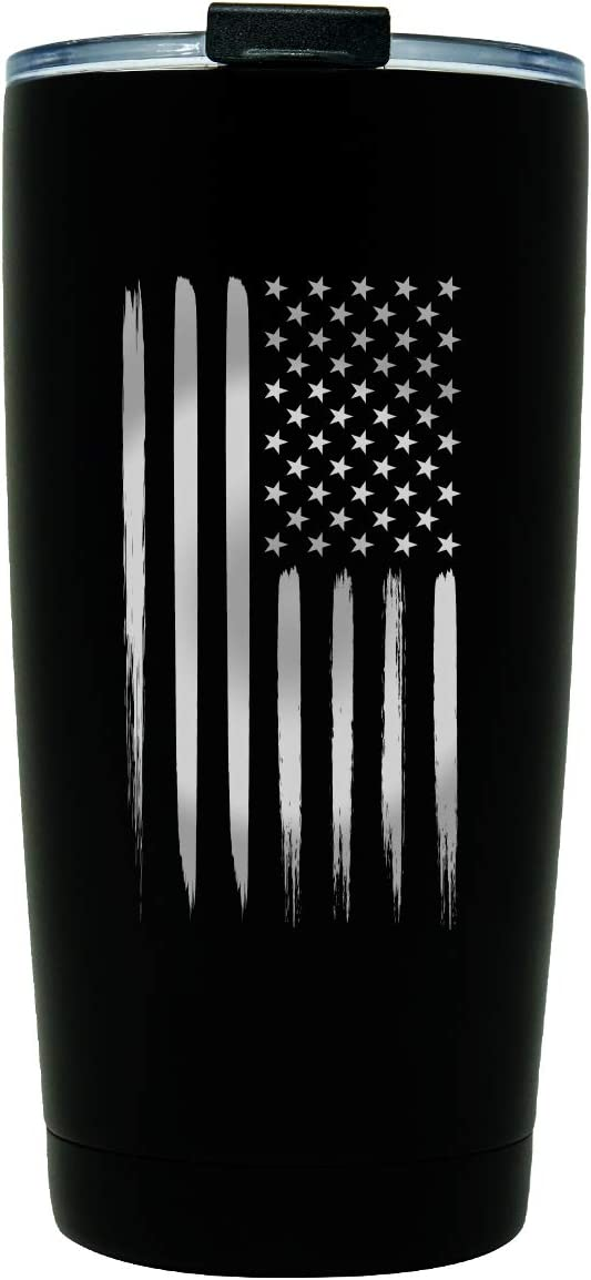 American Flag 20 oz Double Wall Vacuum Insulated Stainless Steel USA Tumbler Travel Mug for Coffee - Patriotic Gift