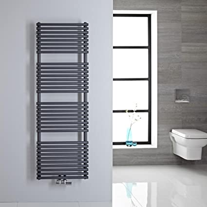 Hudson Reed Radiador de toallas de mano magera – Baño Radiador de acero con conexión central