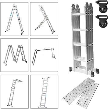 WORHAN/® 4.6m Escalera Multiuso con 2 Plataformas de Acero Multifuncional Plegable Tijera Aluminio 2 Estabilizadores Bisagra Grande Nueva Generaci/ón Calidad Alta KS4.6+platforms