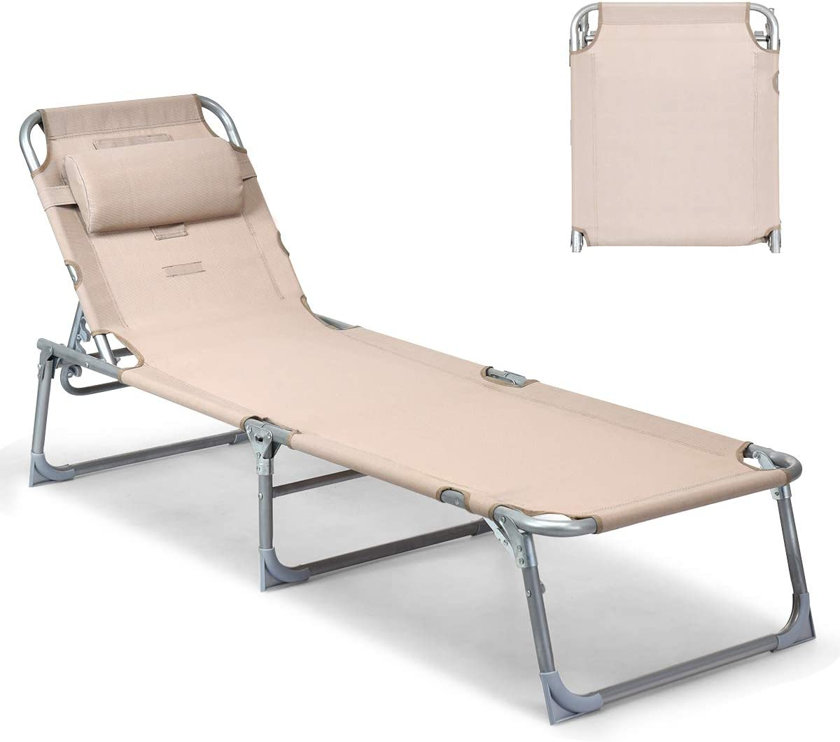 Goplus Adjustable Chaise Lounge Chair Recliner w Sunbathing Tanning Face Down Hole for Beach Outdoor Pool Patio Deck Apricot