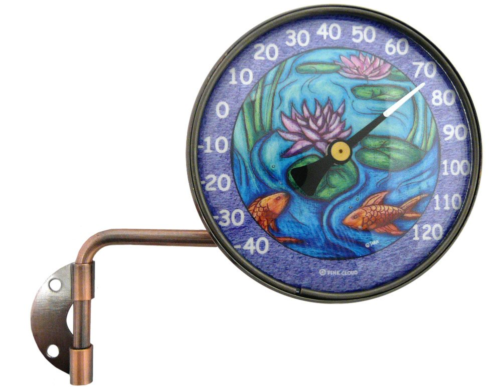 Modern Artisans American Made 4'' Wall Mounted Swivel Copper Dial Thermometer Koi Pond Art