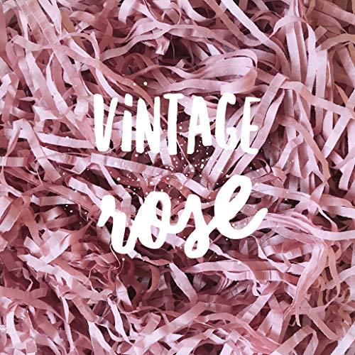 Vintage Rose Blush Shredded Tissue Paper Shred Dusky Ash Antique Vintage Pink Hamper Gift Box Basket Filler Fill Premium Quality ()