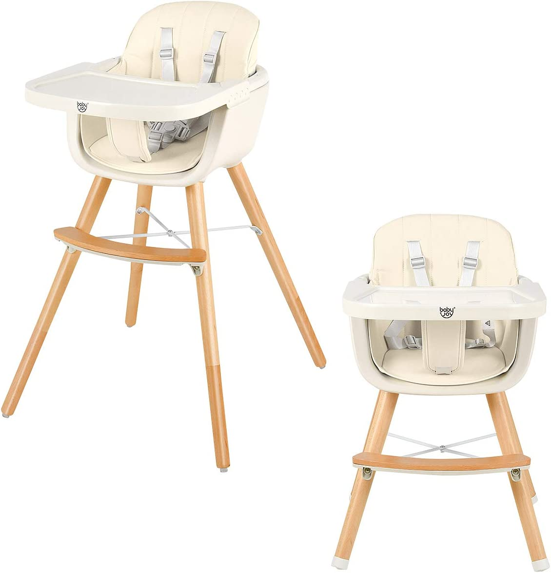 Blue Baby Dining Chair Adjustable Multi Function Compact 3 in 1 Function Highchair with Tray Feeding Toddler