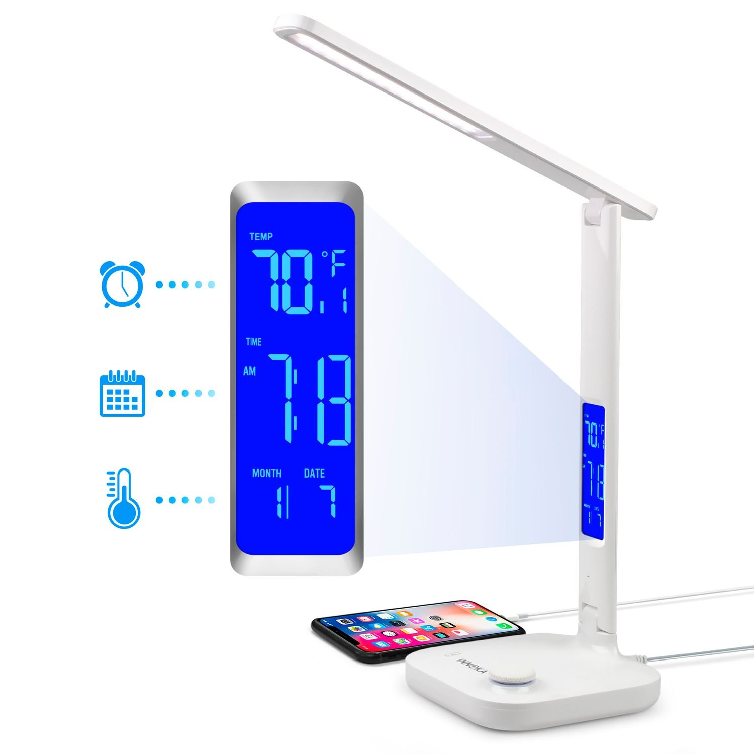 INNOKA Dimmable LED Desk Lamp, Eye Care Lamp, 3 Color Modes, 180 Degree Adjustable, with USB Charging Port [Built in LCD Display] Shows Temperature, Time for Office/Home