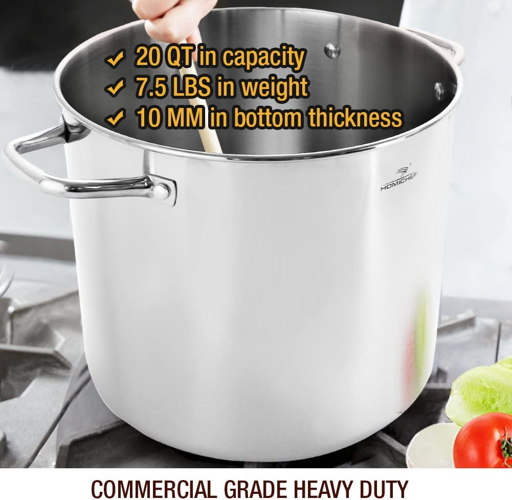 HOMI CHEF Commercial Grade Stainless Steel Stock Pot 20 Quart With Lid Nickel Freee Stainless Steel Non Toxic Cookware Stockpot 20 Quart Large Heavy Duty Stock Pots For Cooking