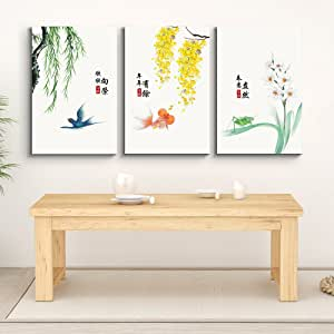 """wall26 - 3 Panel Canvas Wall Art - Chinese Fauna with Flora with Chinese Writing Watercolor Art - Giclee Print Gallery Wrap Modern Home Art Ready to Hang - 16""""x24"""" x 3 Panels"""