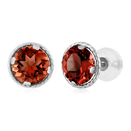 Gem Stone King 2.00 Ct Round 6mm Red Garnet 14K White Gold Stud Earrings