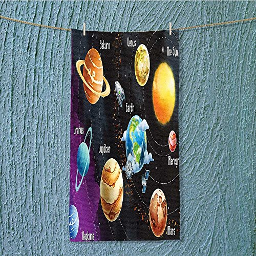 shower towel Solar System of Planets Milk Way Neptune Venus Mercury Sphere Easy care machine wash W9.8 x H39.4 INCH by SeptSonne