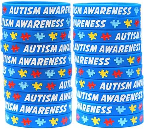 100 Autism Wristbands - Puzzle Piece Bracelets - Adult and Child Sizes Available