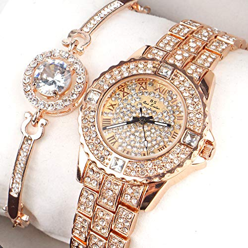 (Women Luxury Ladies Analog Quartz Round Watch Bling Jewelry Plated Classic Watch Crystal Charm and Bracelet Set)