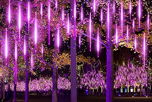 TianNorth Meteor Shower Lights,8 Ultra Bright LED Waterproof cicle Raindrop Lights 19.68 inches Tubes for Christmas,tree,Wedding, Party,Yard,etc (Purple)