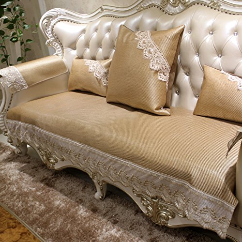 Sofa cushions,european-style ice silk mat anti-slip luxury mat leather simple modern cushion-A 90x120cm(35x47inch) by JIN Sofa mats