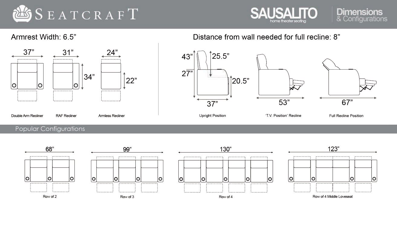 Seatcraft Sausalito Home Theater Seating Manual Recline Leather Gel (Row of 4 Loveseat, Black) by SEATCRAFT (Image #6)