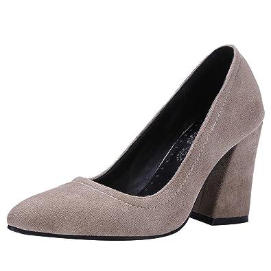 Damen chunky high heel Step Pumps (37, Dunkelgrün(9.5cm)) MissSaSa