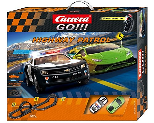Carrera GO!!! Highway Patrol Slot Car Race Track - 1:43 Scale Analog System - Includes Two Cars and Two Dual-Speed Controllers - Electric-Powered Set for Ages 8 and - Cars Race Carrera