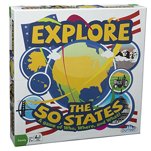 Outset Media - Explore the 50 States Board Game - Test Your Knowledge, Learn and Explore the 50 States - Ages 7+