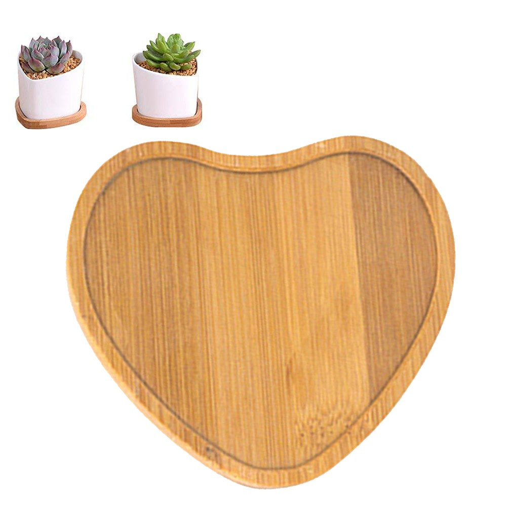 Bamboo Heart Shpae Plant Tray Saucers Portable Flower Pot Holder for Windowsill Office Table