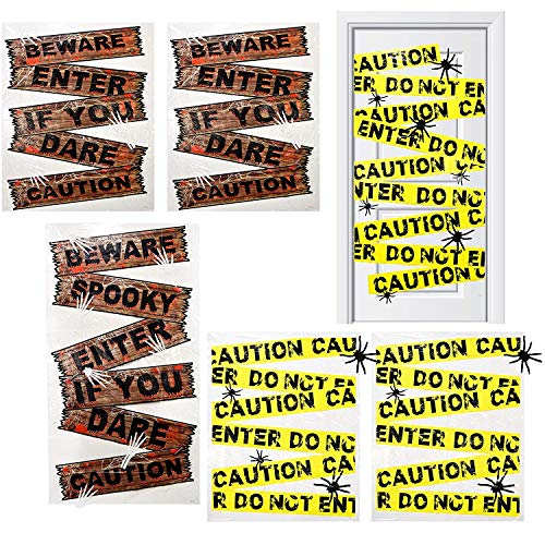 Halloween Door Cover and Window Covers Set of 6 Plastic Beware & Caution Tape Banner Trick Or Treat Poster Spooky Haunted House Wall Hanging Sign Indoor & Outdoor Party Supplies Decoration Accessories