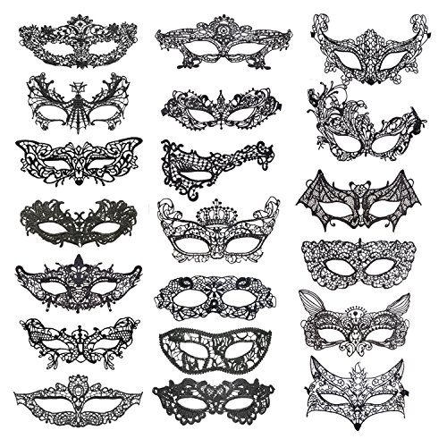 Coobey 20 Pieces Lace Mask Masquerade Venetian Eyemask Halloween Sexy Woman Lace Mask for Halloween Masquerade Carnival Party Costume Ball, Black