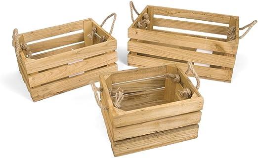 Caja Madera Warren 3 Piezas Natural: Amazon.es: Hogar