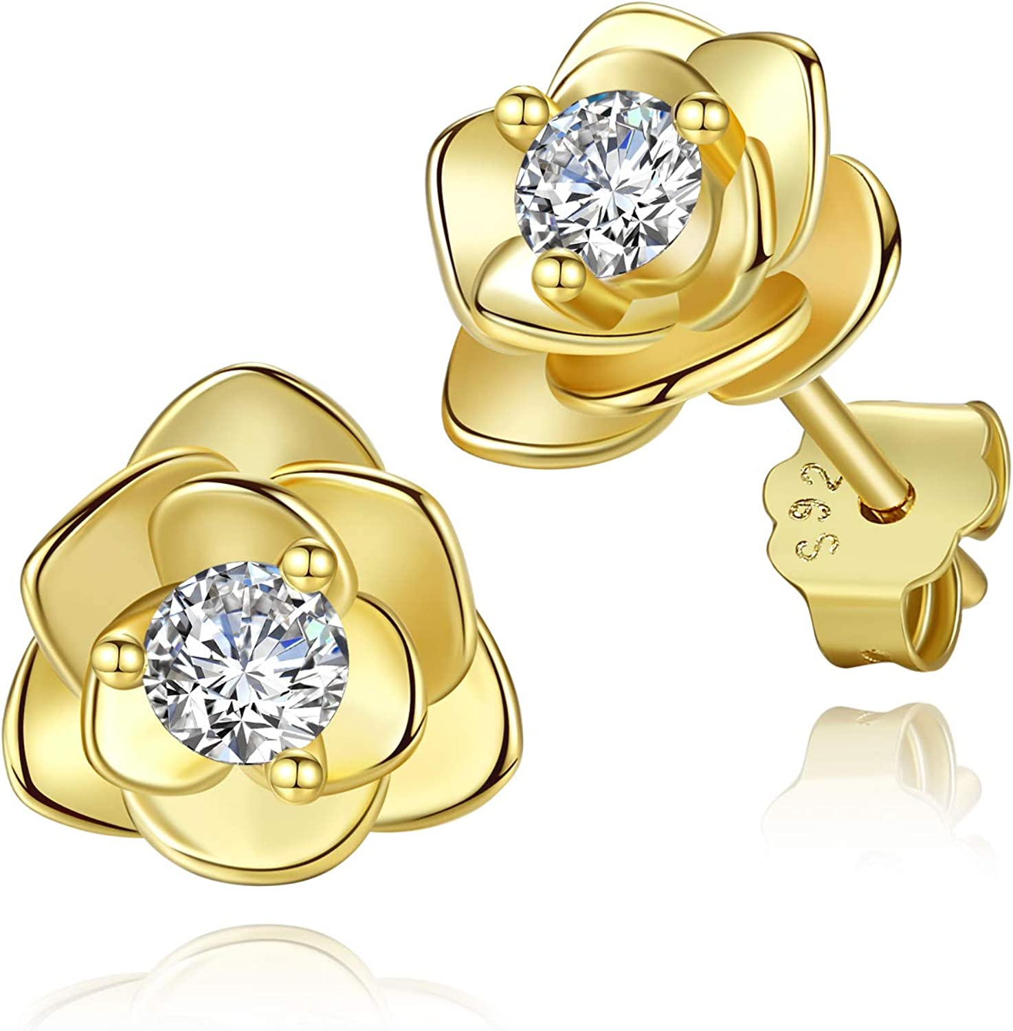 White Gold Plated Lady Girl Flower Rings Gift Box Package Teardrop Cubic Zircon