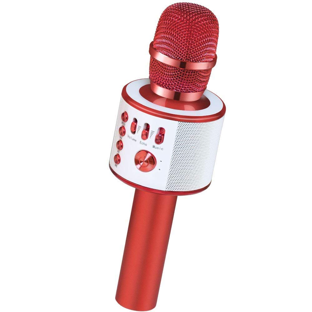 Verkstar Wireless Bluetooth Karaoke Microphones Machine, Portable Handheld Karaoke Mic Speaker Party Birthday Family Gift for iPhone, Android, iPad, PC, All Smartphones(Red)