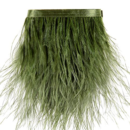 Ostrich Feathers Trims Fringe with Satin Ribbon Tape - for Dress Sewing Crafts Costumes Decoration Pack of 2 Yards (Army Green) ()