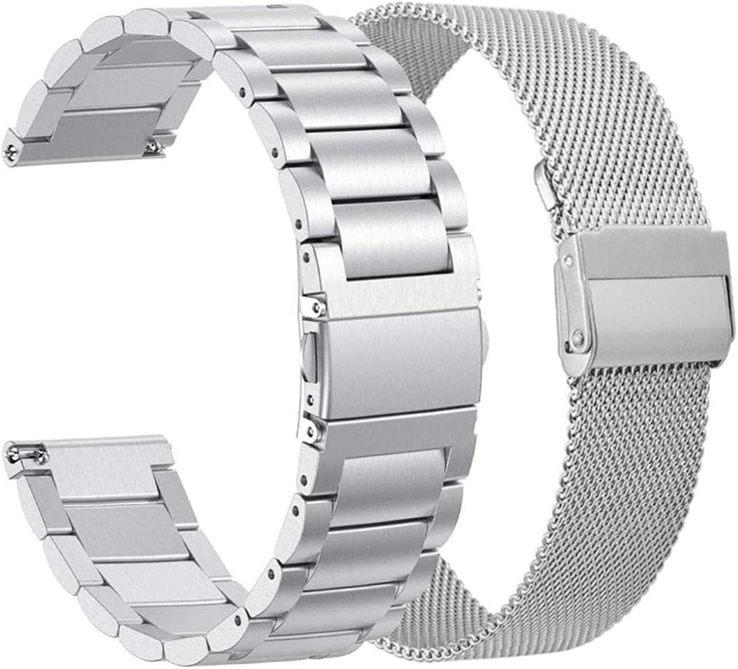 ViCRiOR Compatible Amazfit Bip Bands Set, Stainless Steel + Mesh Strap Bracelet Replacement Band for Huami Amazfit Bip lite, Amazfit GTS, Amazfit GTR 42mm Silver