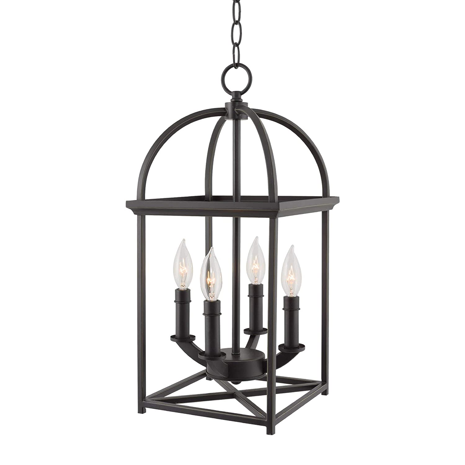 "Kira Home Amesbury 21"" Foyer Bird Cage Lantern 4-Light Chandelier, Oil Rubbed Bronze Finish with Hand-Painted Gold Trim"