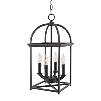 Kira Home Amesbury 21 Foyer Bird Cage Lantern 4-Light Chandelier, Oil Rubbed Bronze Finish with Hand-Painted Gold Trim