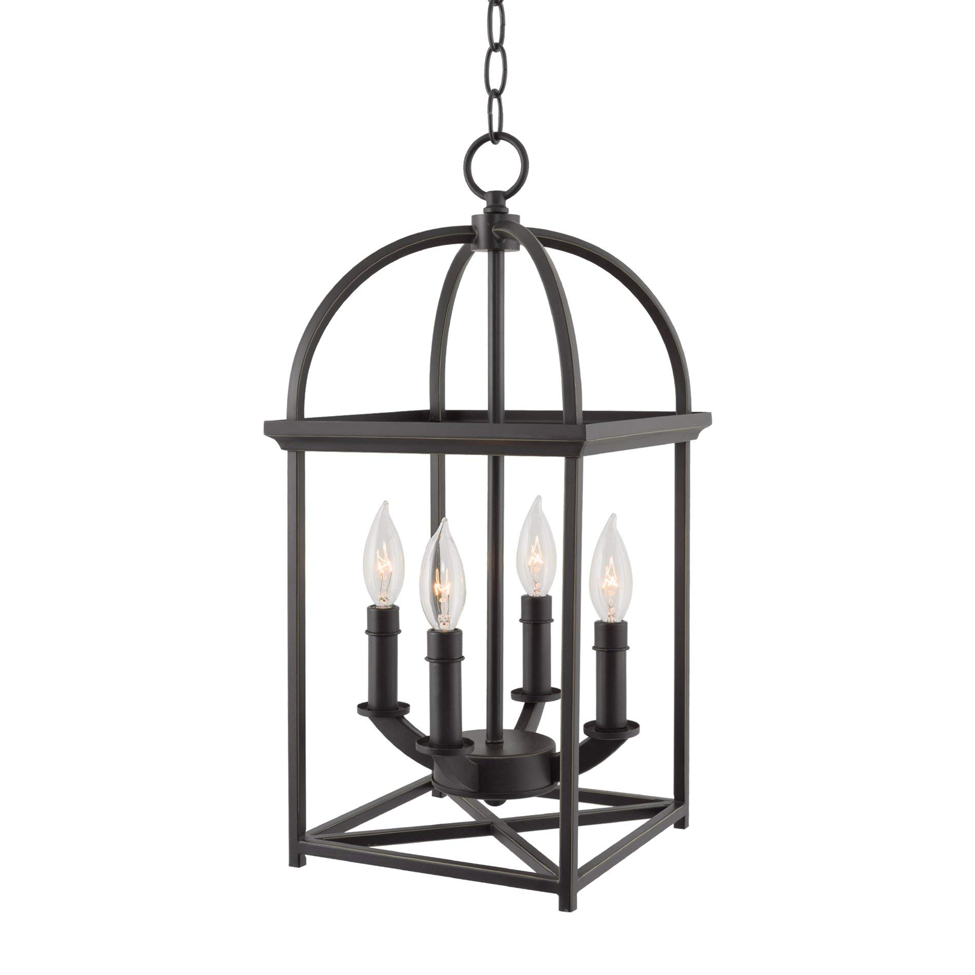 Kira Home Amesbury 21'' Foyer Bird Cage Lantern 4-Light Chandelier, Oil Rubbed Bronze Finish with Hand-Painted Gold Trim
