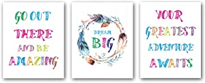 """Set of 3 Watercolor Words Inspirational Quote Wall Art Print,Feather is Round Posters with Inspirational Quotations,Wall Art Canvas for Living Room Decor,Gift(Unframed,8""""X10""""inches)."""