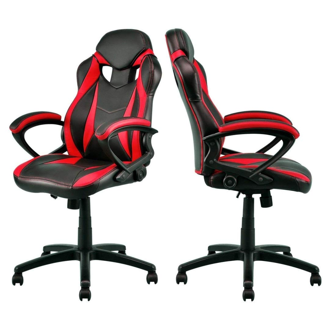 Modern Style High Back Gaming Chairs Comfortable 360-Degree Swivel Design Desk Task PU Leather Upholstery Thick Padded Seat Posture Support Home Office Furniture - Set of 2 Red/Black #2123 by KLS14