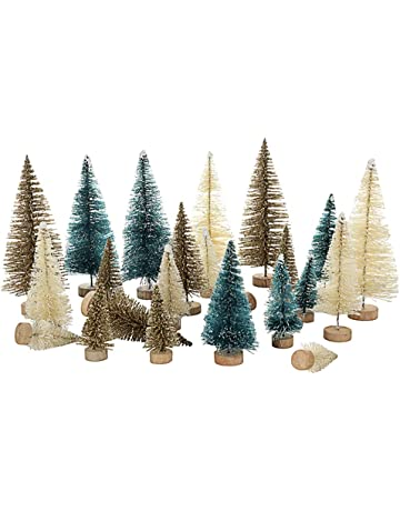 5338b1a8e0 lulalula mini sisal Snow Frost Trees Bottle Brush Trees mini albero di  Natale pino con base