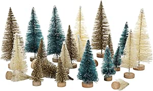 Mini Tabletop Christmas Tree , 24pcs Miniature Pine Trees Frosted Sisal Trees with Wood Base DIY Crafts Home Decor Christmas Ornaments Green, Gold and Ivory,Mix Color