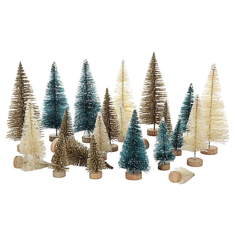 UHBGT Mini Tabletop Christmas Tree, 24pcs Miniature Pine Trees Frosted Sisal Trees with Wood Base DIY Crafts Home Decor Christmas Ornaments Green, Gold and Ivory,Mix Color