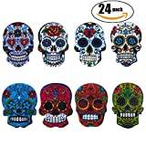 Netany 24-Pack Sugar Skull Magnets with Refrigerator Magnets - Magnetic Pins, Dia de los Muertos | Day of the Dead, Full Color, Calavera, Death's Head Style, Mini Size About 1'' ( 3 Set )