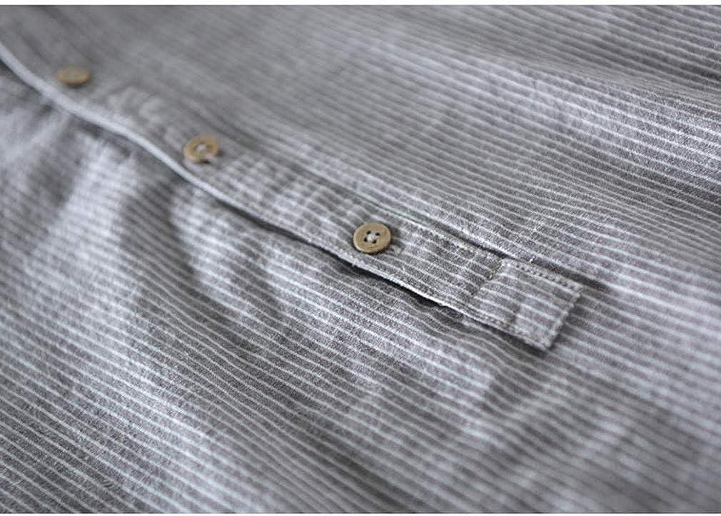 Hombre Rayas Camisa con Cuello Mao Casual Blusas de Trabajo de Color S/ólido Eventos Importantes Verano Elegante Corte Ajustado Shirt con Bot/ón