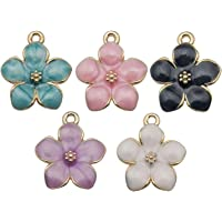 WOCRAFT 40pcs Gold Plated Enamel Cherry Blossoms Flower Charms Pendant for Jewelry Making Necklace Bracelet Earring DIY…