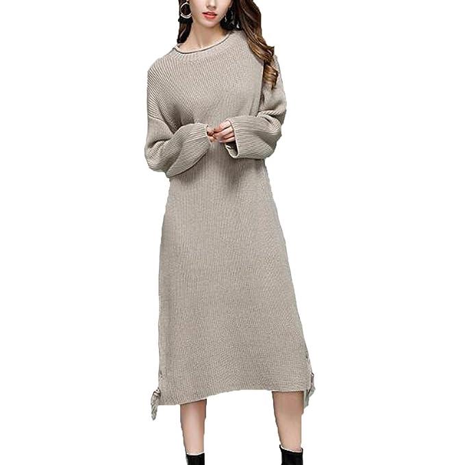 Para Mujer Atractiva Largo Y Grueso Vestido Del Puente De Punto De Gran Tamaño Normal Grueso
