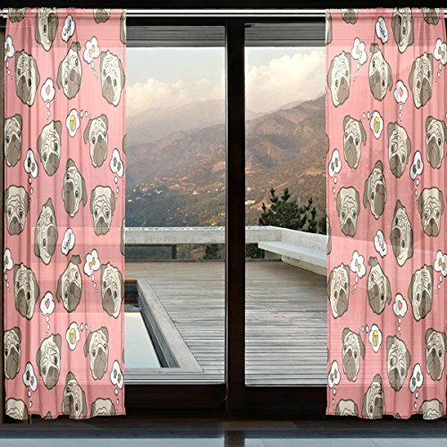 "WOZO Custom Hipster Puppy Pug Dog Sheer Panel Pair Curtains 110""x55"" Modern Window Treatment Panel Collection for Living Room Bedroom Home Decor"
