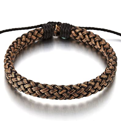 Lederarmband damen zum wickeln  Klassiker Braun Geflochtene Lederarmband Herren Damen Armband ...