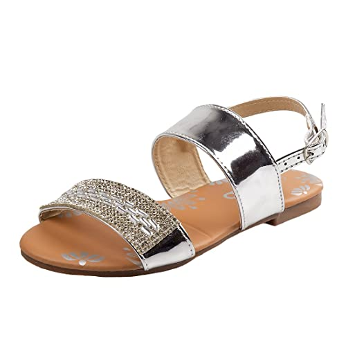 90db514bce9838 Josmo Girls Metallic Rhinestone Sandal