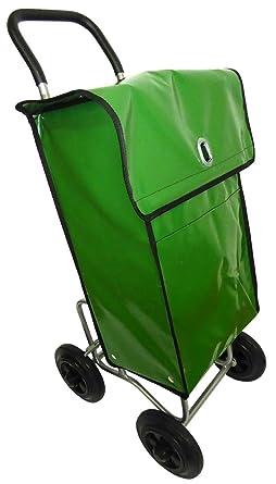 Carro para la distribución postal con bolsa de transporte impermeable verde
