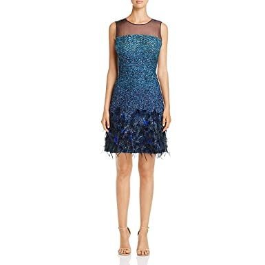 d6381699a14 Elie Tahari Womens Anabelle Embellished Feather Cocktail Dress at ...