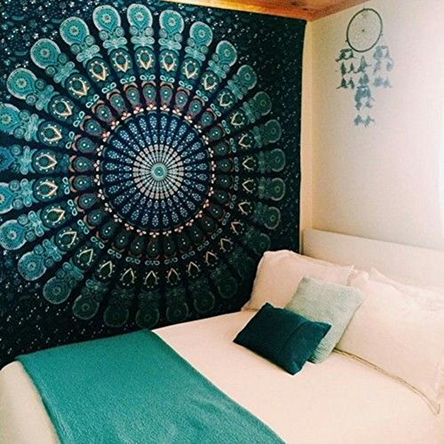 Jescrich Psychedelic Wall Hanging Tapestry Large Size Bohemian Tapestries(M,GreenPeacock)