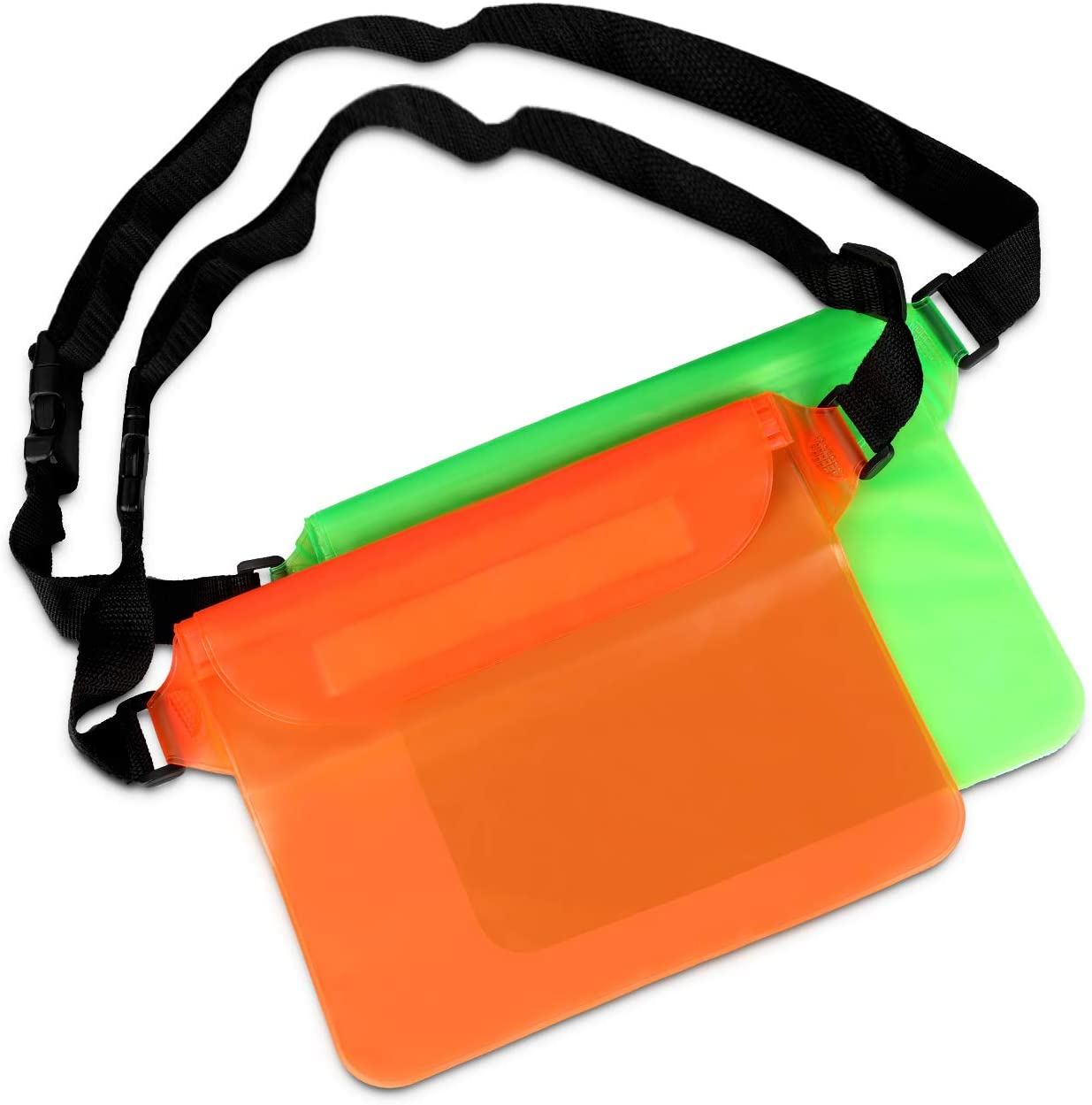 BFVV Waterproof Pouch with Waist Strap 2 Pack Keep Your Phone and Valuables Safe and Dry Waterproof Fanny Pack for Boating Swimming Snorkeling Fishing Sailing Beach Water Parks