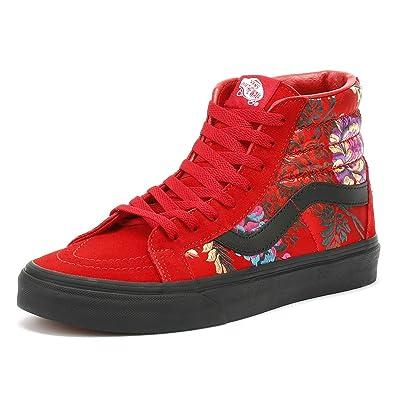 Amazon.com | Vans SK8-Hi Reissue Festival Satin Womens Red Sneakers ...